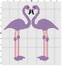 Beginner's Lilac Flamingoes Counted Cross Stitch Sewing Kit